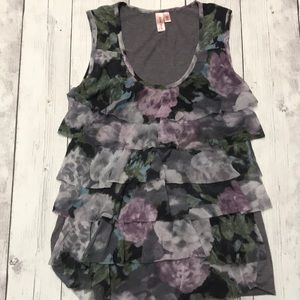 Sweet Pea by Stacy Frati Floral Ruffle Tank Medium